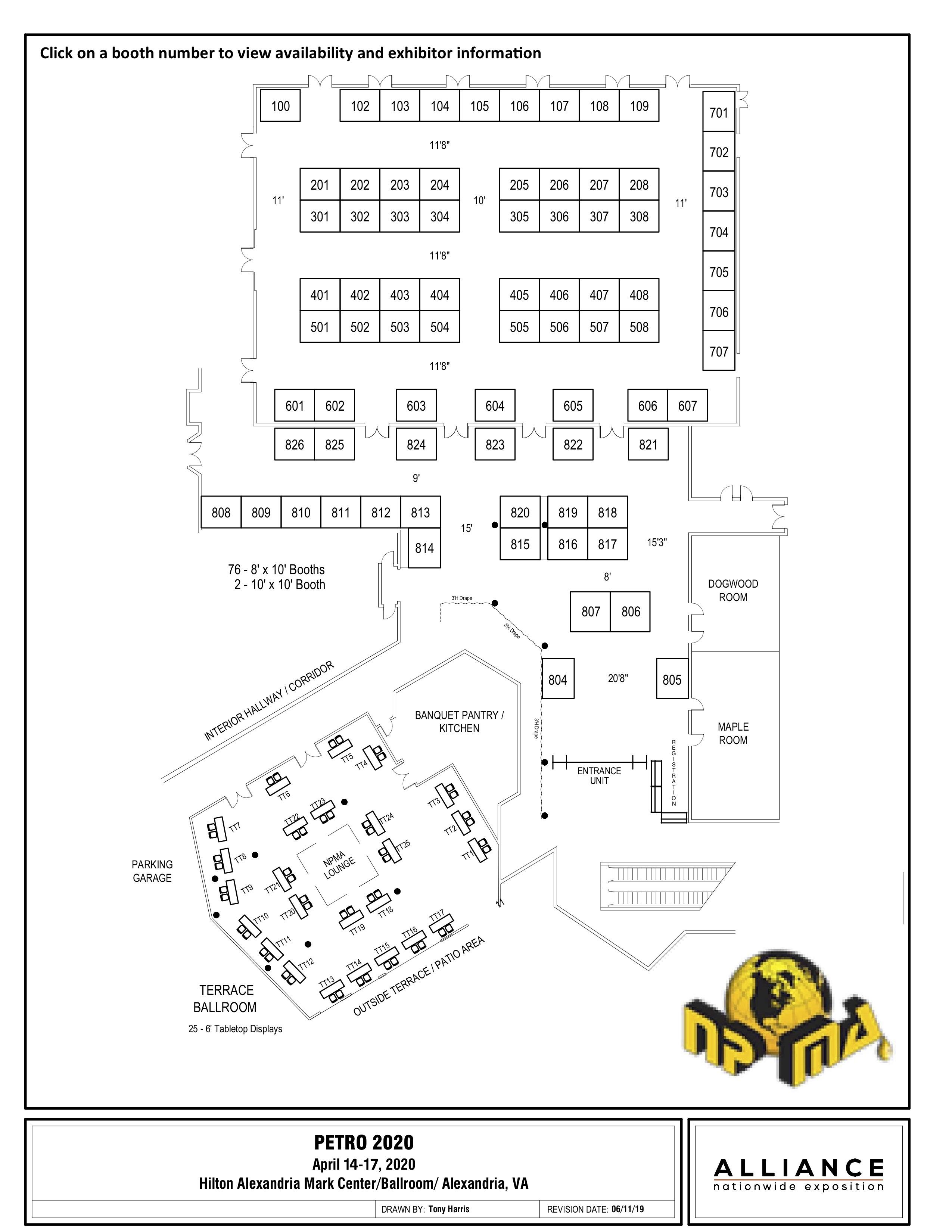 PETRO 2020 Exhibitor Booth Floor Plan